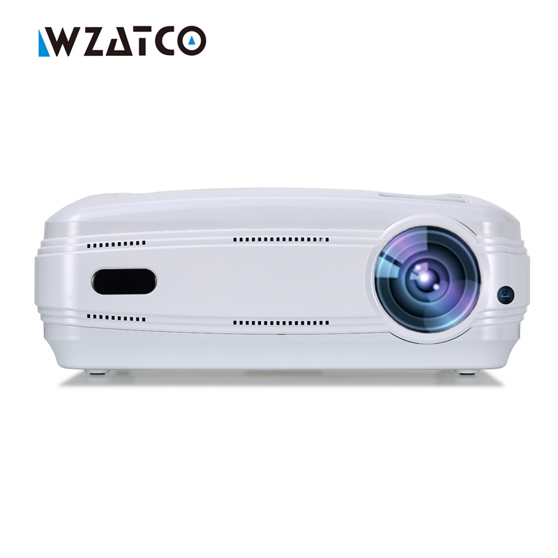 WZATCO Android 6.0 WIFI 5500lumens Portable HD home cinema LED TV projector 1080P video game HDMI LCD full hd proyector beamer tv home theater led projector support full hd 1080p video media player hdmi lcd beamer x7 mini projector 1000 lumens