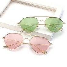 Dimshow barato océano moda gafas de sol lentes polarizados parlarized amarillo rosa marco de metal gafas de sol mujeres de los hombres uv400 gafas de sol