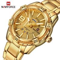 Naviforce relógio masculino dourado  relógio de quartzo para homens  de aço inoxidável à prova d'água