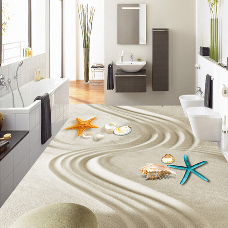 3d starfish shell beach floor painting vinyl wallpaper for 3d washable wallpaper