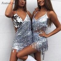 FestivalQueen Shining Halter Mini Dress Sequin Fringe Tassel Gilding Stage Performance Backless Latin Dance Dress for Women