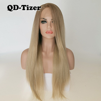 QD Tizer Blonde Hair Long Silky Straight Ombre Blonde Color Lace Front Wig Glueless Dark Root Synthetic Lace Front Wigs