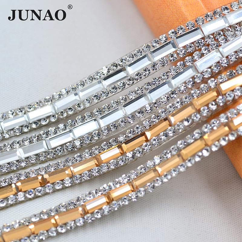JUNAO 5 Yard * 8mm Klar Svart Champagne Hotfix Glass Rhinestone Chain Trim Perler Stoff Crystal Applique Banding For Dress Sko