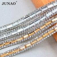Junao 5 двор * 8 мм ясно Стекло исправление Стразы отделкой цепочкой strass кристаллы сетки группы свадебные хрустальные аппликации для свадебное ...