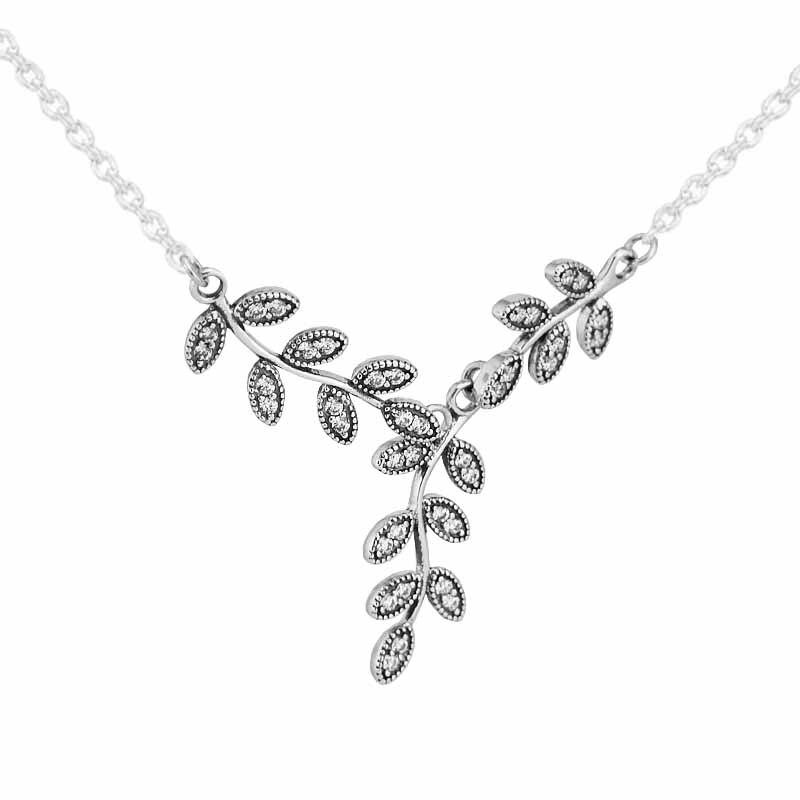Colliers 100% 925 Sterling-argent-bijoux feuilles argent collier bijoux fins pour les femmes FLN002