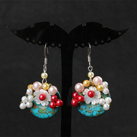The original Korean mother of pearl imitation Pearl Earrings 925 sterling silver ear hook Handmade