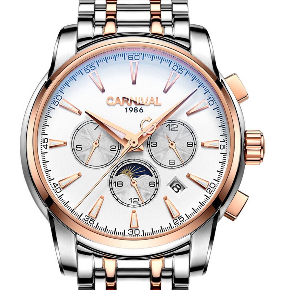 Carnival Mens Business Multifunction Dial Steel Watchband Automatic Self-Wind Mechanical Watch Wristwatch -gold bezel white dial women favorite extravagant gold plated full steel wristwatch skeleton automatic mechanical self wind watch waterproof nw518