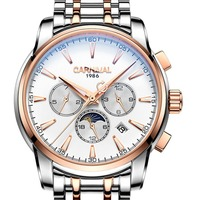 Carnival Mens Business Multifunction Dial Steel Watchband Automatic Self-Wind Mechanical Watch Wristwatch -gold bezel white dial