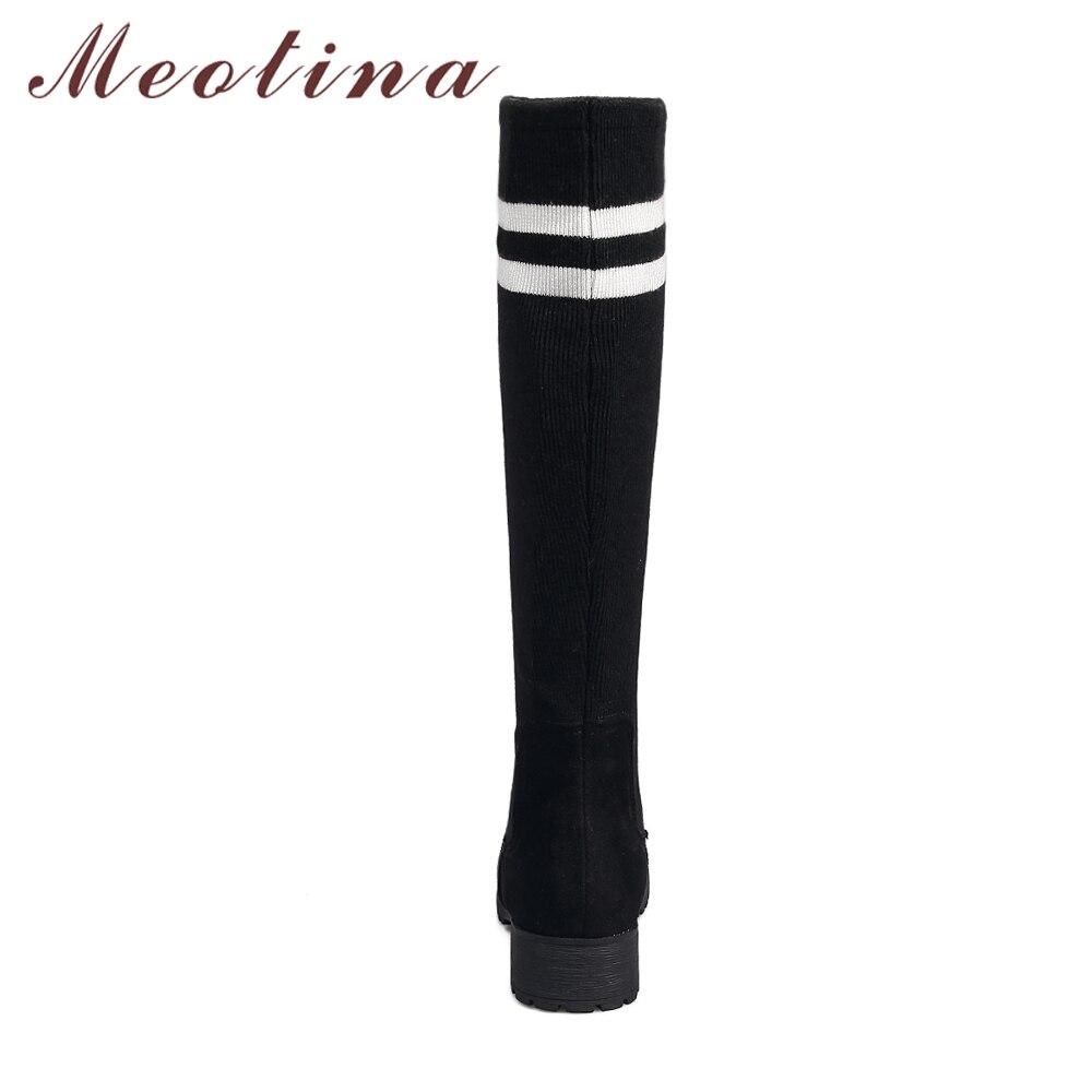 Chaussures Rayure Hiver Mode Femmes pu Chaussette Ciel Bottes marron 43 Taille Noir Blanc Dames Plate 42 Hautes Bleu forme Meotina Noir De Bwf7XX