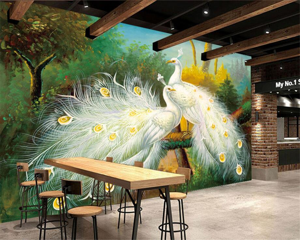 Beibehang Custom Wallpaper Living Room Bedroom Mural Peacock Open Screen Oil Painting ktv Bar Hotel Background Wall 3d wallpaper free shipping cartoon pattern wallpaper leisure bar ktv lounge living room sofa children room background comics wallpaper mural