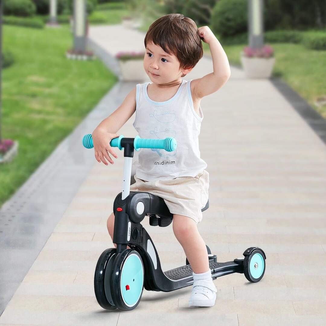 Enfants trois roues Balance vélo Scooter bébé marcheur 2-6 ans 5 en 1 multi-fonction Tricycle tour voiture jouet - 3