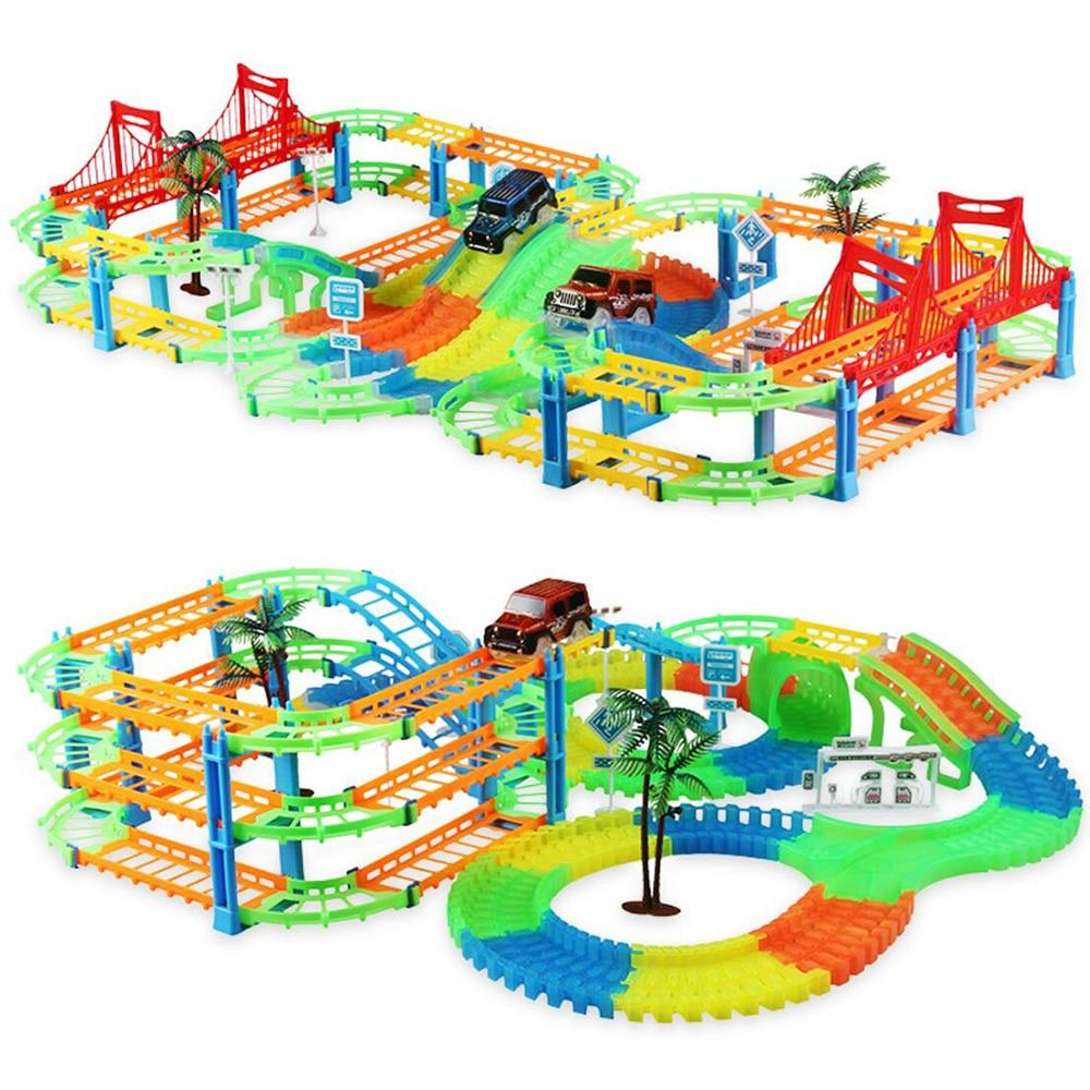 Flexible Railway Tracks Car Toys DIY Magical Track Road Set With Flashing Light Rail Car Assembly Train Model Toy Christmas Gift