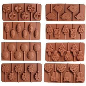Image 1 - 1PCS Silikon Lollipop Form 9 Arten Schokolade Kuchen Fondant Cookie Form Jelly Pudding Formen DIY Backen Kuchen Dekorieren Werkzeuge 20