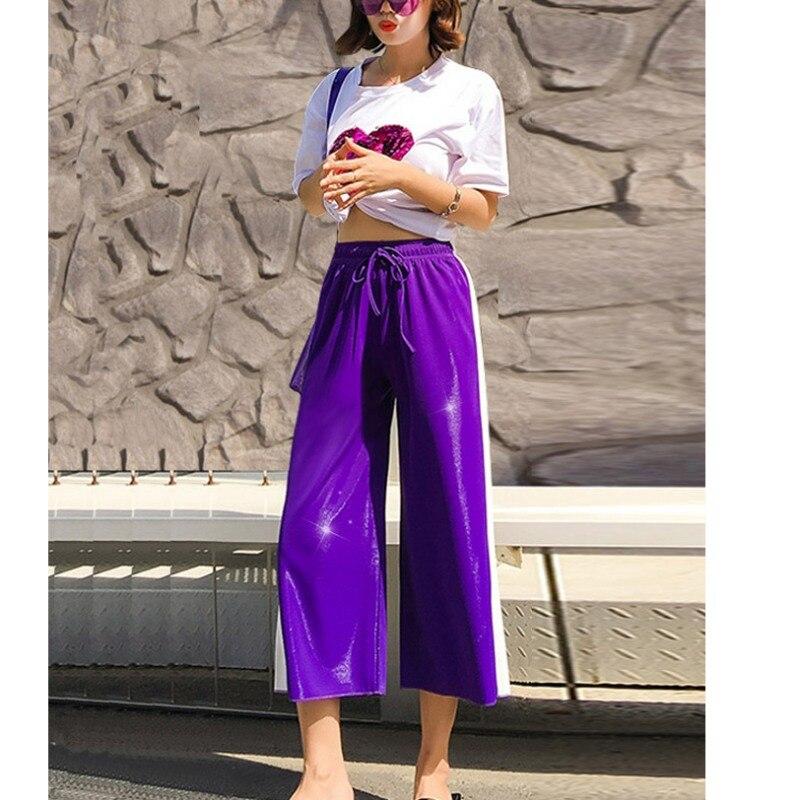 New Arrival Harajuku Women Side Stripe Long   Pants   Fashion   Wide     Leg     Pants   Casual Jogger Calf-Length vadim clothes