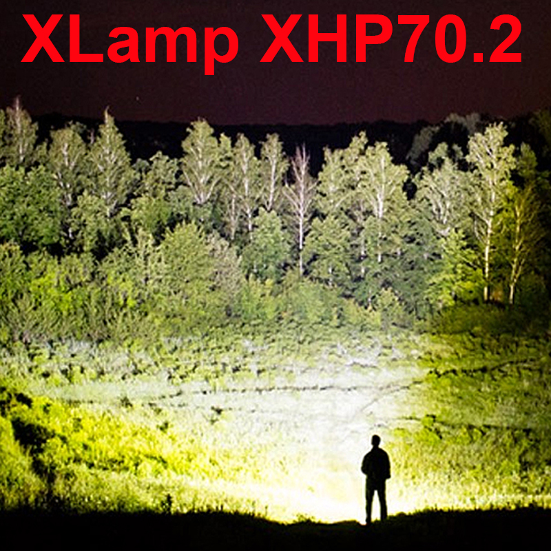 XLamp xhp70.2 powerful led flashlight 70000 lumens Zoom led torch xhp70 xhp50 18650 or 26650 usb Rechargeable battery waterproof Люмен