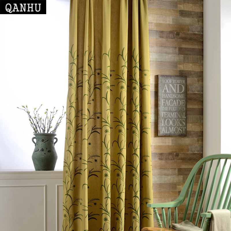 QANHU Wind Shakes the Barley Bedroom Blackout Curtains Polyester/Cotton Comfortable Curtains Set for the Living Room A-7