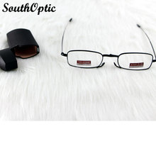 Черный цвет полный обод складной портативный сплава Antennary удобные очки для чтения асферические HMC линзы с чехол 100 ~ 400 6035