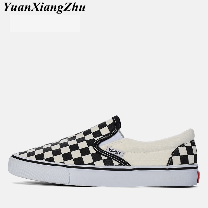 Fashion Casual Shoes Men Loafers 2018 Brand Canvas Male Shoes Black White Plaid Breathable Slip On Flat Men's Vulcanized Shoes стоимость