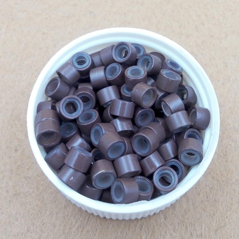 1000st 4.5mm silikonfodrad Micro Links Rings Pärlor - Hårvård och styling - Foto 5