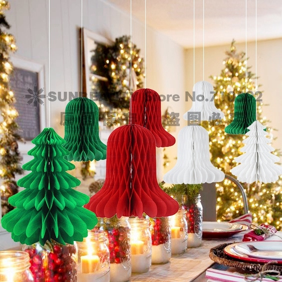 8pcs/set Mix and Match Christmas Decorations Paper Honeycomb Tree,Bell Honeycombs  Decorations Indoor Christmas Trees Ornaments - 8pcs/set Mix And Match Christmas Decorations Paper Honeycomb Tree