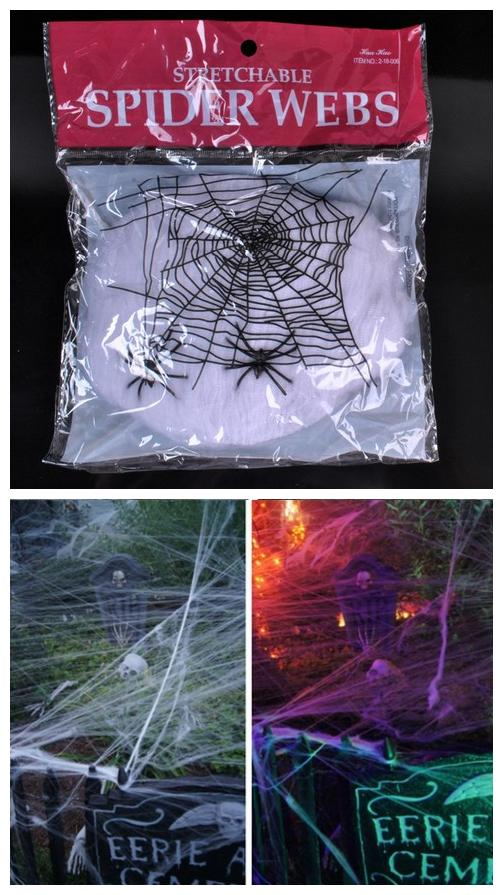 wholesale halloween party scene props horror halloween decoration white stretchy cobweb spider web for bar haunted