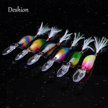 Deshion Deep Diving Crankbaits Fishing Lure 1PC 11cm 18g Multi-color Wobblers Sinking Crankbait with Feathers for Walleye