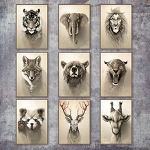 Deer Fox Wolf Bear Leopard Vintage Poster Wall Art Canvas Painting Nordic Posters And Prints Wall Pictures For Living Room Decor