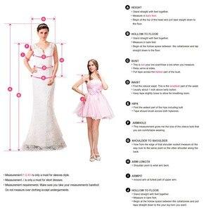 Image 4 - Кружевное атласное свадебное платье с аппликацией, белое привлекательное бальное платье с V образным вырезом, пуговицами сзади и полурукавами, 2020
