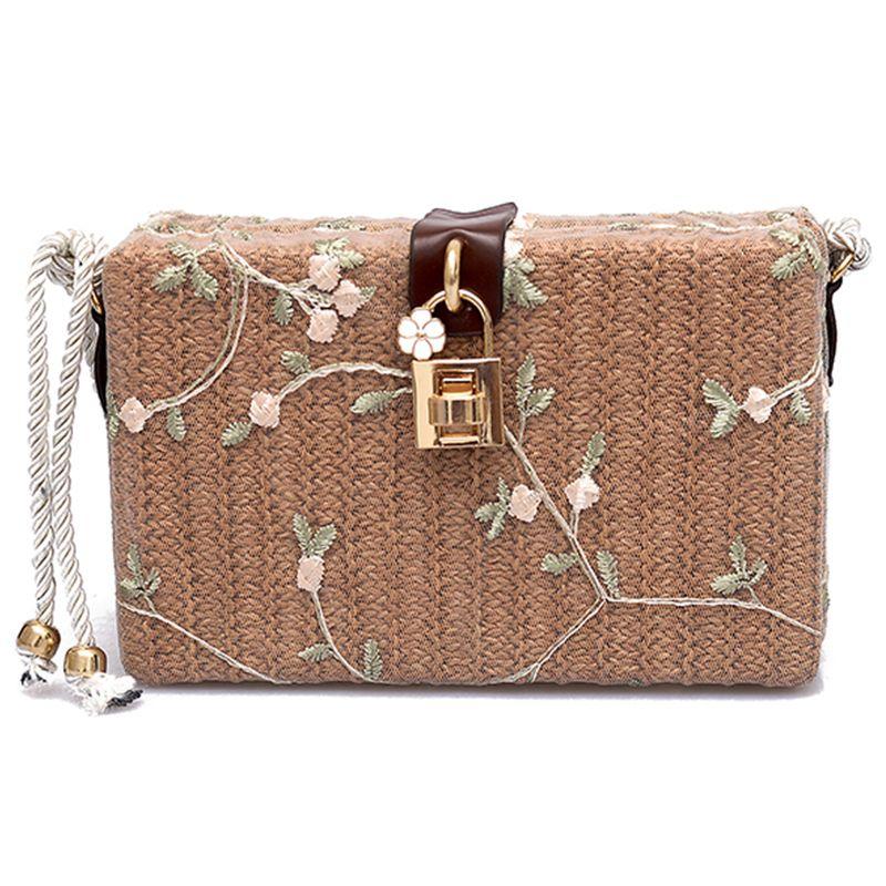 7e78c3b29f31 2018 Новый Лидер продаж летние пляжные Сумки Для женщин Курьерские сумки  площадь соломы ручной работы женская