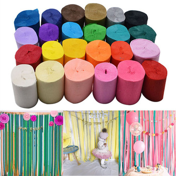 5cm*10 meters Crepe Paper Streamers Tissue Paper Roll Flower Craft Making Birthday Wedding Party Backdrop DIY Decoration