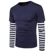 Лидер продаж 2019 года, весенне осенняя одежда для мужчин, полосатая рубашка в стиле пэчворк с длинными рукавами, футболка с длинными рукавами