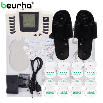 Beurha Electrical Muscle Stimulator Russian button Therapy Massager Pulse Tens Acupuncture Full Body Massage Relax Care 16 Pads