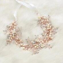 Романтическая розовая Золотая повязка для волос с жемчугом ручной работы, свадебные повязки на голову, украшения для женщин
