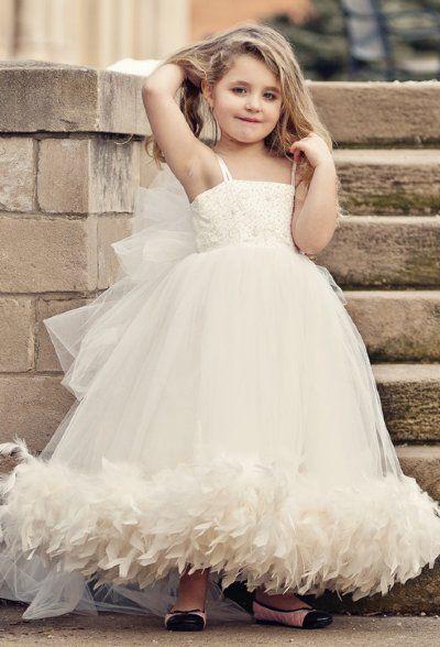 Beige 2019 Flower Girl Dresses For Weddings Ball Gown Tulle Feather Beaded Long First Communion Dresses For Little Girls