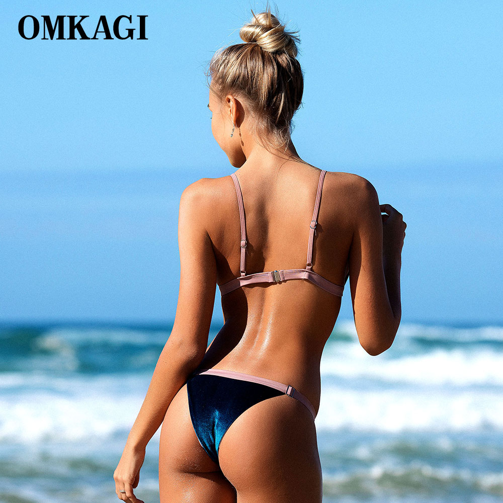 OMKAGI Brand Velvet Swimwear Women Swimsuit Sexy Push Up Micro Bikini Set Swimming Bathing Suit Beachwear Bikinis Women 2018 2