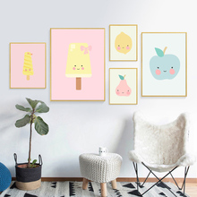 Fruit Apple Pear Mango Ice Cream Posters And Prints Wall Art Canvas Painting Nursery Pictures Kids Room Decor