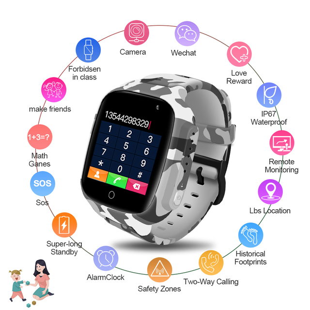 LEMFO LEC2 Smart Watch for KIDS. GPS, SOS, Video Camera, Waterproof. Stay in touch all day.