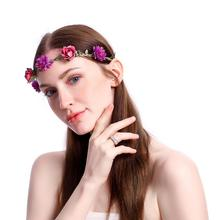 Bohemian Style Woman Hair Flower Crown Wedding Party Vacation Hair Wreath Garland Girls Flower Headband Brown Hair Accessories 2017 new 10pcs lot beach hair accessories kids flower headband bohemian style wreath garland girls birthday party hairband