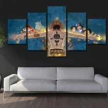 Modern Artwork Wall Art Home Decor Canvas Print Painting One Set Frame Or Unframed 5 Panel Anime One Piece Portgas D. Ace Poster недорого