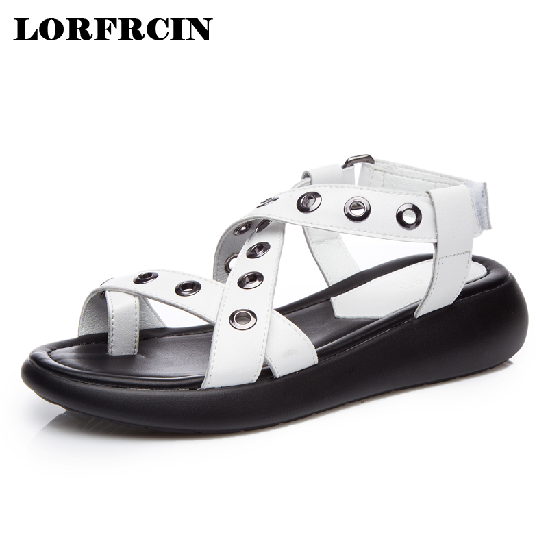 LORFRCIN Women Sandals 2017 New Vintage Style Gladiator Sandals Platform Wedges Flip Flops Shoes Woman Split Leather Summer Shoe phyanic 2017 gladiator sandals gold silver shoes woman summer platform wedges glitters creepers casual women shoes phy3323