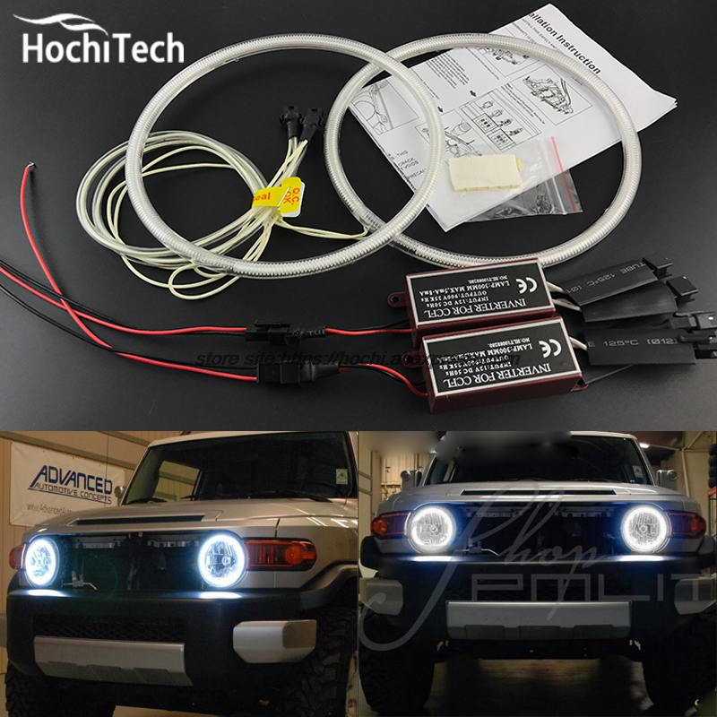HochiTech Excellent CCFL Angel Eyes Kit Ultra bright headlight illumination For Toyota FJ Cruiser 2007 to 2014 for toyota fj cruiser 2007 13 double