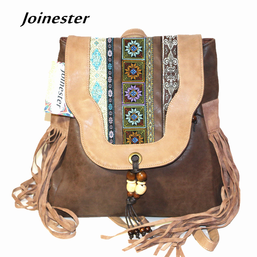 Chinese National Style Ethnic Embroidery Women's Hasp PU Flap Backpack with Beading Tassels Vintage School Satchel Soft Handle