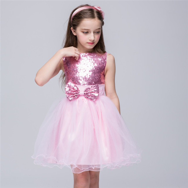Children S Clothes Bowknot Dress High Quality Baby Sequins Small Formal Attire Dresses Wedding