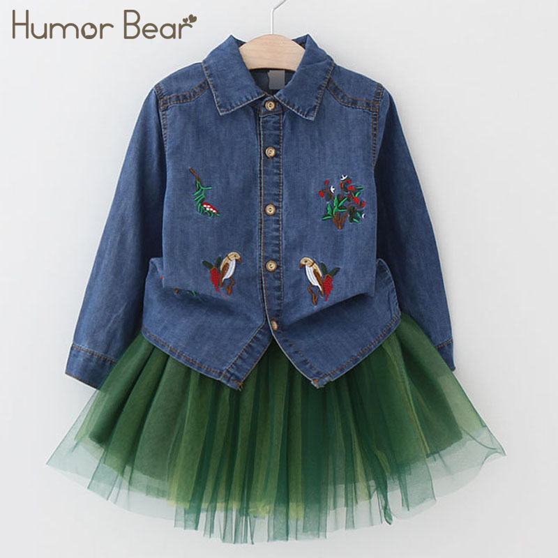Humor Bear 2018 NEW Autumn Baby Girl Clothes Sets Love Long Cartoon Embroidery Sleeve Girls cowboy Sets Children's clothes humor bear baby girl clothes set new sequins letter long sleeve t shirt stars skirt 2pcs girl clothing sets kids clothes