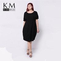 Kissmilk 2017 Plus Size Women Batwing Sleeves Loose Slit Bottom Black Big Size Dress 3XL 4XL 5XL 6XL