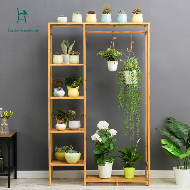 Louis Fashion Plant Shelves Balcony Floor Wooden Flower Living Room Multi Y Indoor Hanging Meat Fl Potted Rack