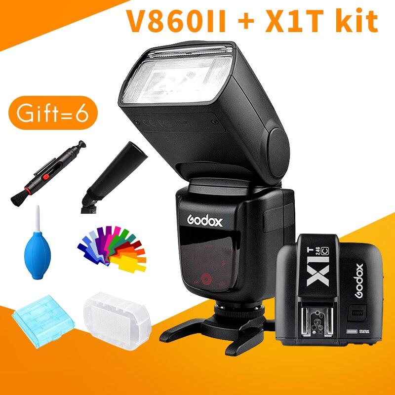 Godox Speedlite V860II X1T kit Li-ion <font><b>Battery</b></font> TTL 1/8000s HSS for Canon 5D Series Nikon D810 Sony A7 fujifilm lumix GH5 <font><b>camera</b></font>