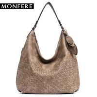 MONFER Women S Vegan Leather Handbags High Quality Female Hobos Single Shoulder Bags Vintage Big Woven
