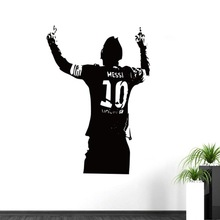 Free shipping Sports footballer wall stickers kids boys the year Lionel Messi after scoring of cheering room wall decor world cup football boot striker footballer of the year trophy award trophies model with free printing ronaldo messi