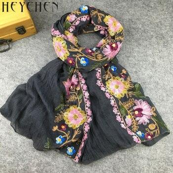 Japon Etnik Tarzı Çiçek Işlemeli atkılar ve şallar Kadınlar için Müslüman Başörtüsü Bandana ve Pashmina Bayanlar HY06